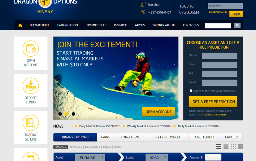 Платформа брокера Dragon Options